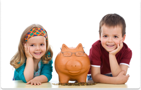 boy and girl smiling with piggy bank