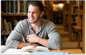 smiling student in library