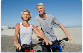 older couple on bicycles