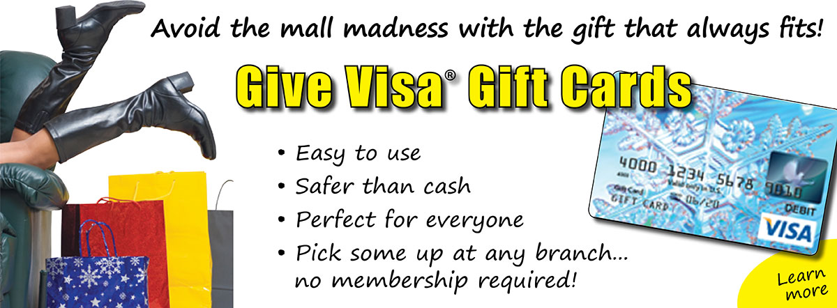Give the gift that always fits. Give Visa Gift Cards.