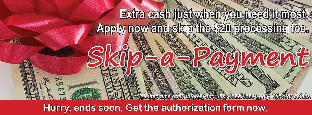 Apply to skip a payment now and skip the $20 processing fee.