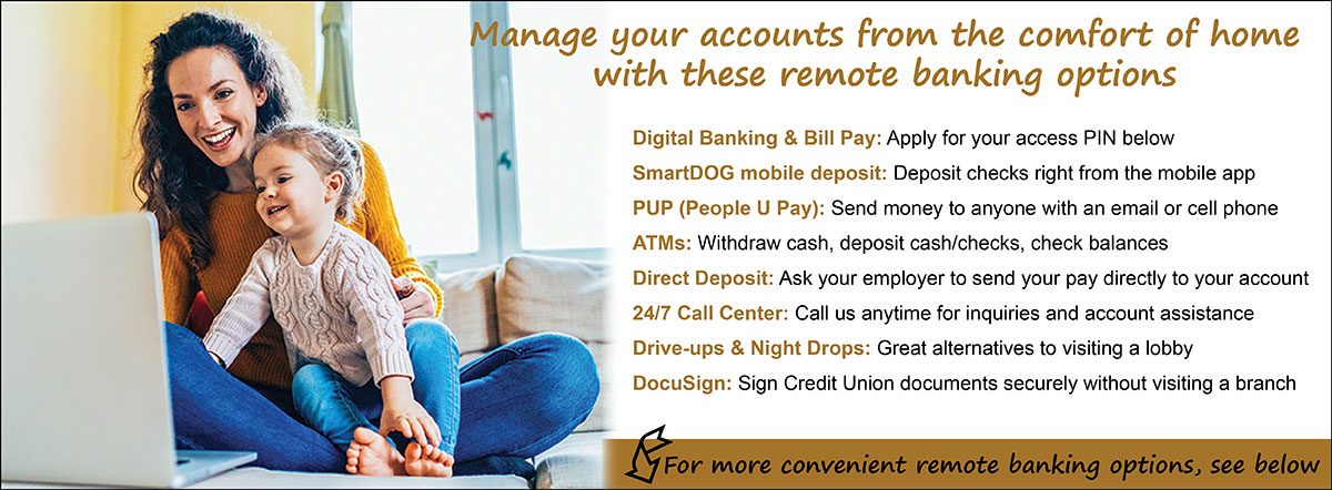 Manage your account from the comfort of home with remote banking
