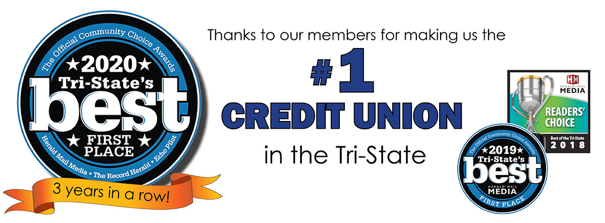 Thanks for making us the #1 credit union in the tri-state 3 years in a row
